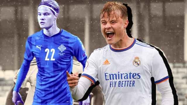 Andri Gudjohnsen, en un fotomontaje durante un partido con el Real Madrid Castilla y la selección de Islandia