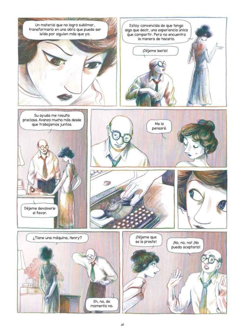 Una de las páginas del cómic sobre Anaïs Nin.