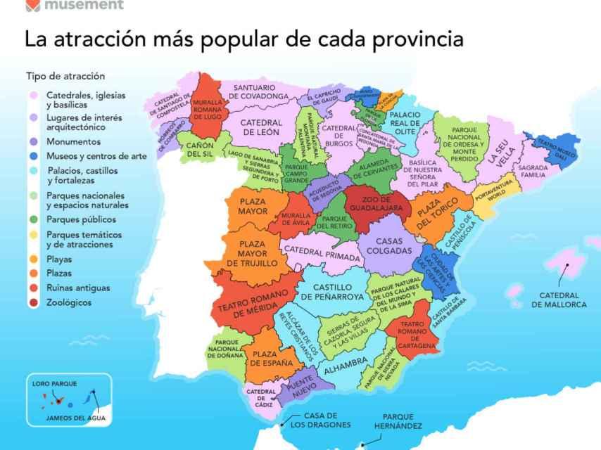 Las atracciones y monumentos más populares de cada provincia de España