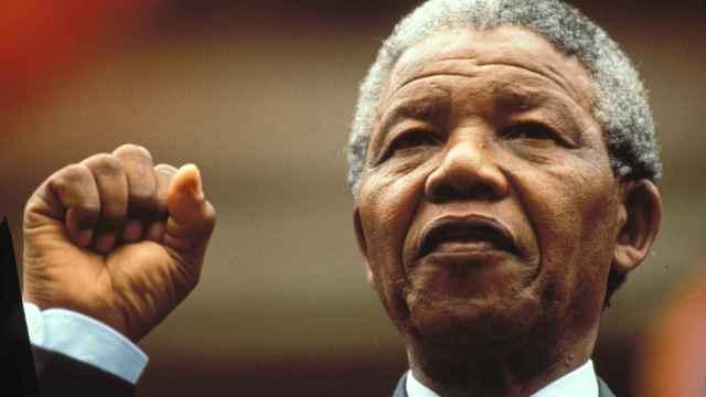Nelson Mandela en Sudáfrica tras su liberación en 1990.