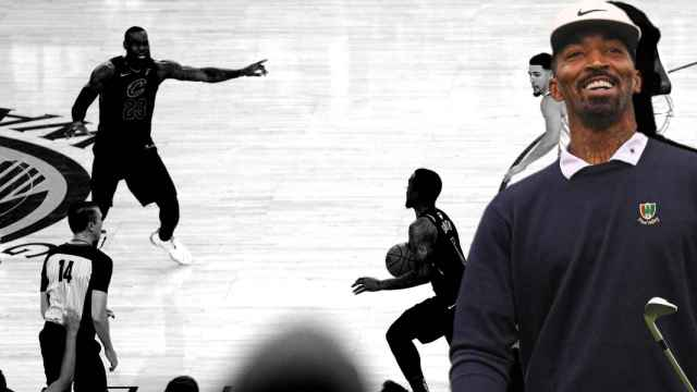 JR Smith, en un fotomontaje con la famosa jugada en los Cavaliers y en un partido de golf