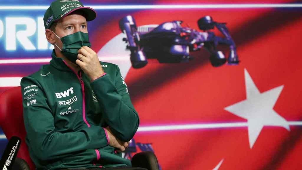 Sebastian Vettel, en rueda de prensa de la Fórmula 1