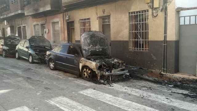 Estado en el que quedó la calle Gran Vía de Molina de Segura tras el incendio provocado por Antón.