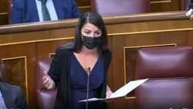 La diputada de Vox Macarena Olona este miércoles en la sesión de control al Gobierno.