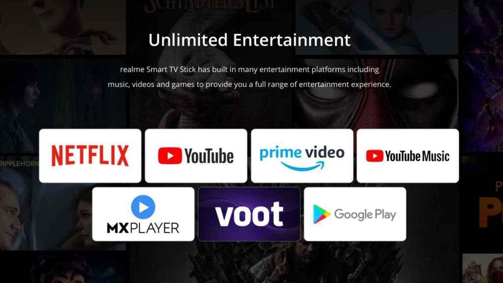 Aplicaciones del Realme Google TV Stick 4K