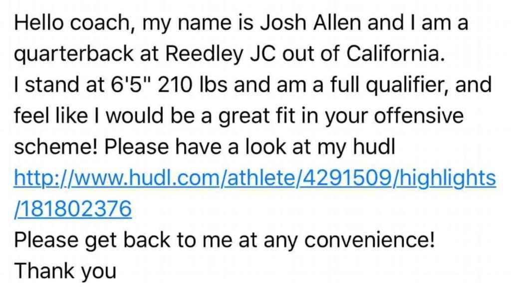 El correo que Josh Allen mandó a todos los entrenadores jefe de las universidades de Estados Unidos