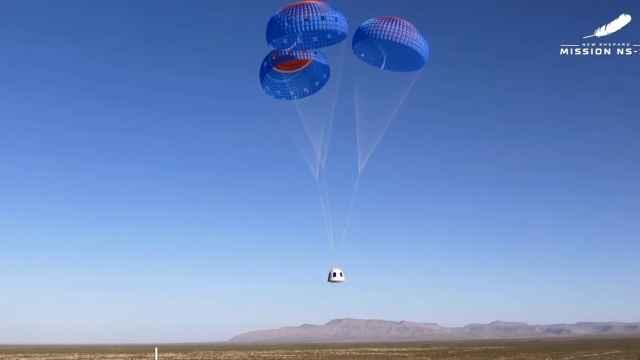 Cápsula New Shepard a punto de aterrizar