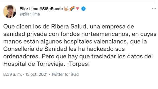 Tuit de Pilar Lima, la portavoz de Podemos en las Cortes Valencianas.