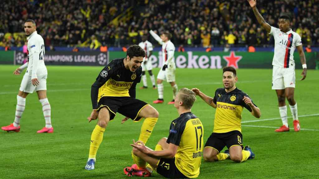Erling Haaland, celebrando el gol ante el PSG en la Champions League