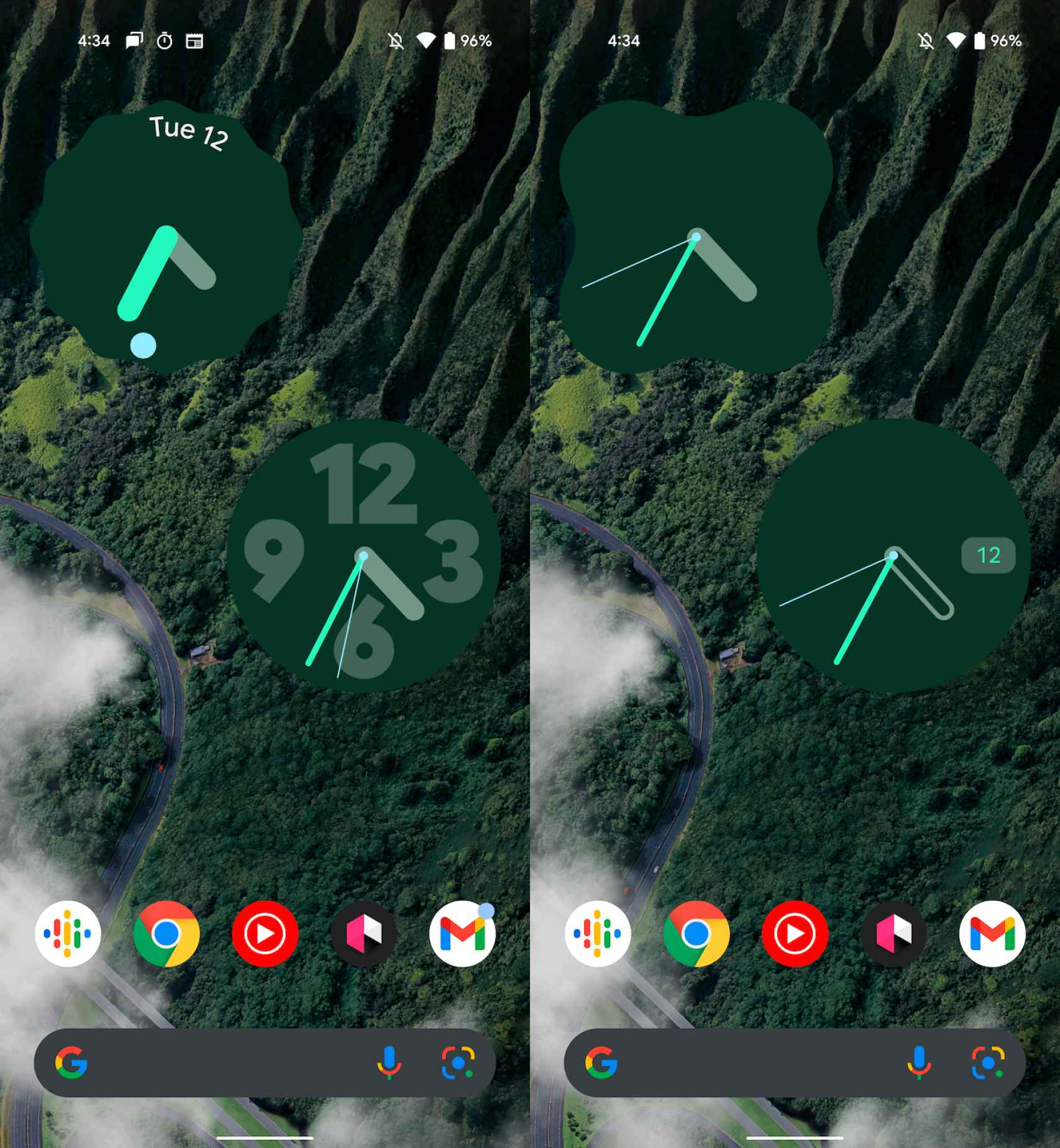 Nuevos widgets de la app Reloj de Google