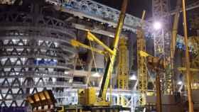 Las obras del Santiago Bernabéu de noche