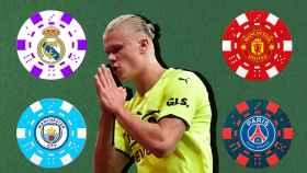 Erling Haaland, en un fotomontaje con fichas de póker y los escudos de los equipos que le pretenden