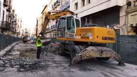 Imagen de los trabajos en la calle Carretería, en Málaga.