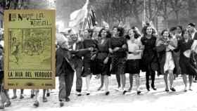 Mujeres celebrando la proclamación de la Segunda República y un ejemplar de 'La Novela Ideal'.