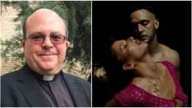 El deán de la catedral de Burgos, Juan Miguel Ferrer, junto a un fotograma del videoclip de C. Tangana y Nathy Peluso.