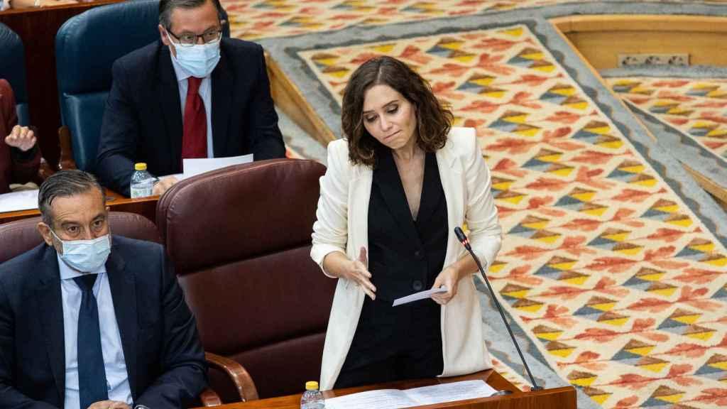 La presidenta de la Comunidad de Madrid, Isabel Díaz Ayuso, en la sesión de control al Gobierno regional, en la Asamblea de Madrid.