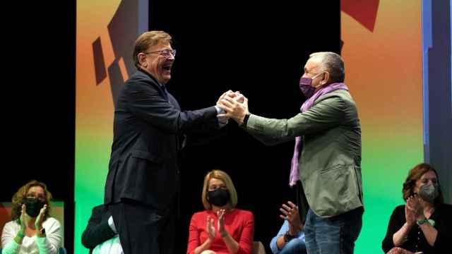 Ximo Puig, junto a Pepe Álvarez en el 43 Congreso de UGT, que tuvo lugar en Valencia. EE