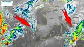 El frente atlántico acercándose (izquierda) y el ciclón Ballos sobre Sicilia (derecha). Meteored.