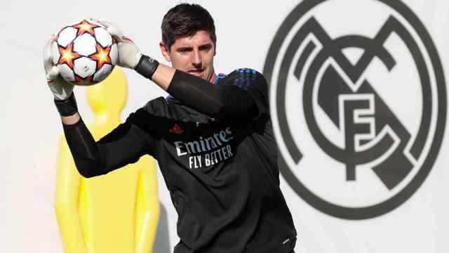 Thibaut Courtois, en el entrenamiento del Real Madrid