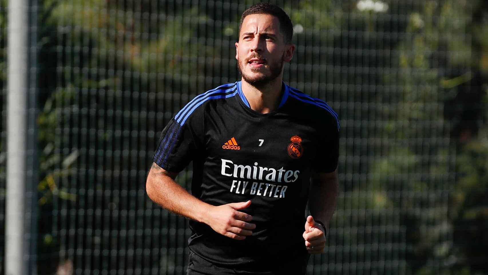 Eden Hazard, en el entrenamiento del Real Madrid
