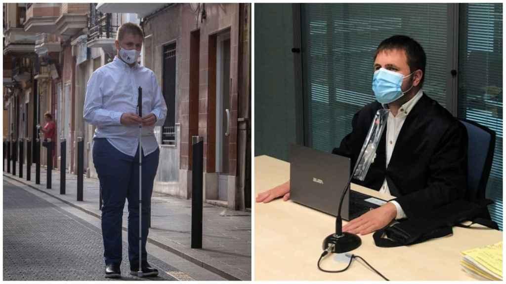 Héctor Melero, primer fiscal ciego de España. A la derecha, en su debut en un juicio.