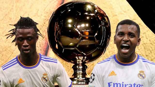 Eduardo Camavinga y Rodrygo Goes, con el Golden Boy, en un fotomontaje