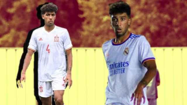 Edgar Pujol, en un fotomontaje con la Selección y el Real Madrid