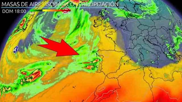 El frente atlántico alcanzando la Península. ElTiempo.es