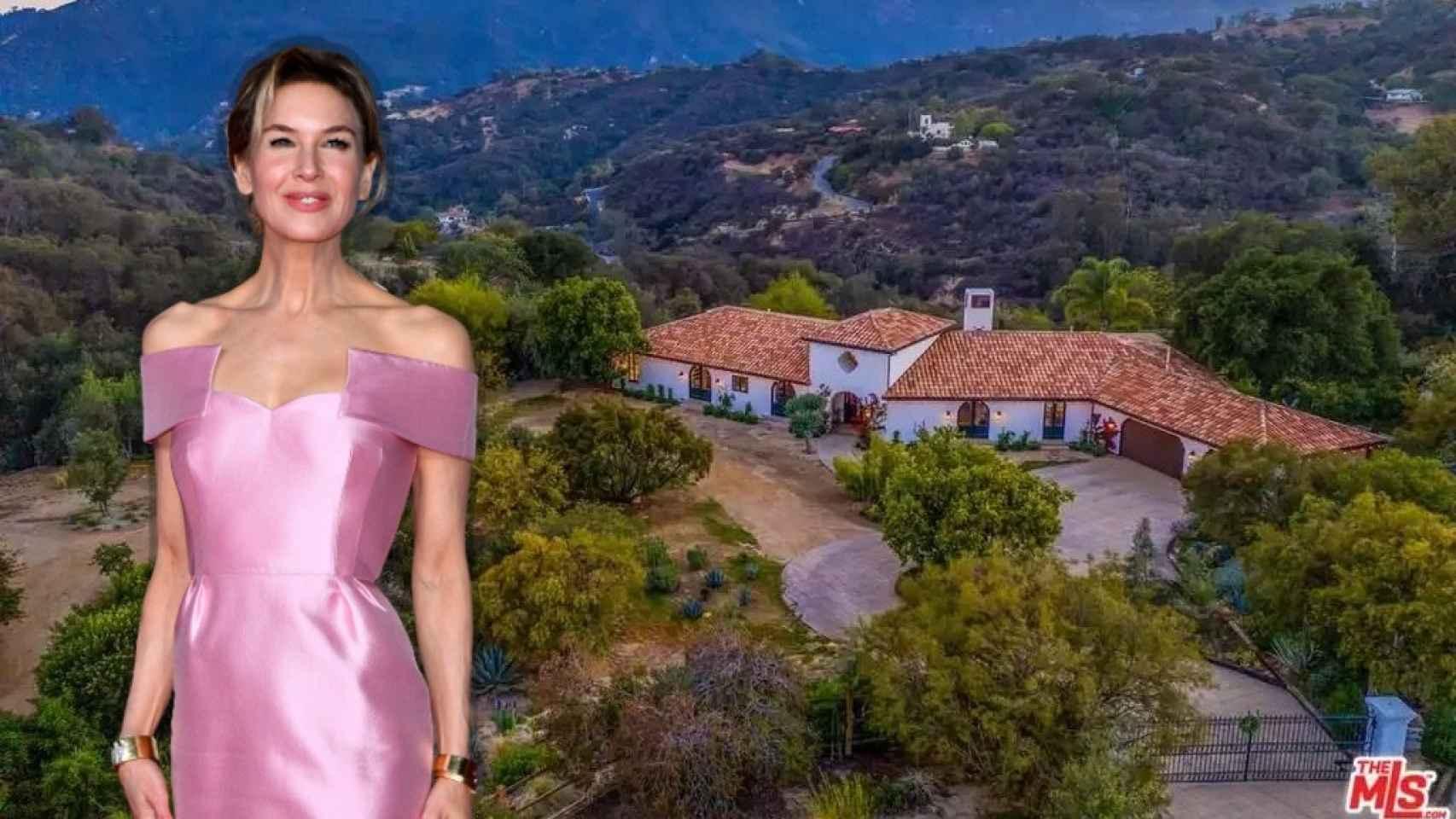 Renée Zellweger sobre una imagen de su hacienda.
