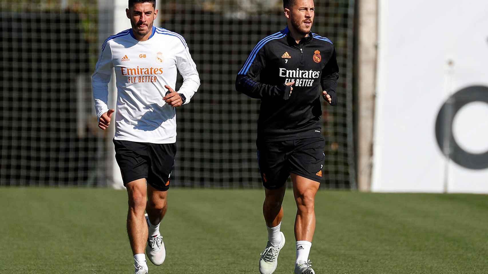 Fede Valverde y Eden Hazard, durante un entrenamiento del Real Madrid