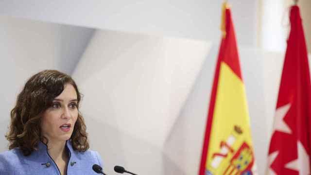 La presidenta de la Comunidad de Madrid, Isabel Díaz Ayuso, este viernes en un acto. EP