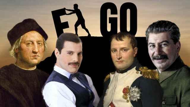 Cristóbal Colón, Freddy Mercury, Napoleón Bonaparte y Josef Stalin.