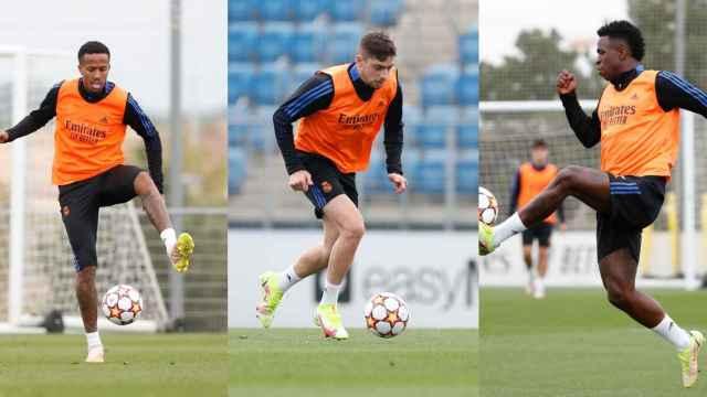 Eder Militao, Fede Valverde y Vinicius Junior, durante un entrenamiento con el Real Madrid, en un fotomontaje