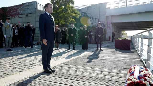 El presidente de Francia, Emmanuel Macron, en el homenaje de este sábado.