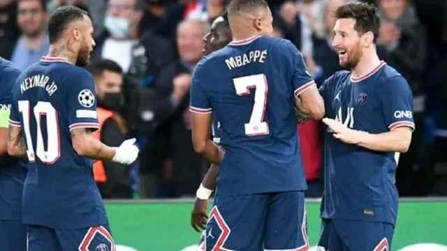 Mbappé, Neymar y Messi, el 'tridente mágico' del Paris Saint-Germain.