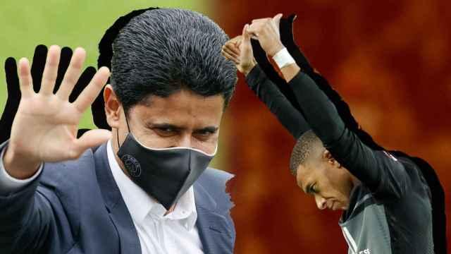 Nasser Al-Khelaifi y Kylian Mbappé, en un fotomontaje