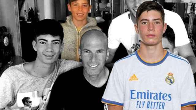 Un fotomontaje de Elyaz con sus hermanos y su padre, Zinedine Zidane