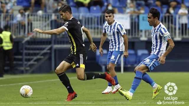 El exmalaguista Adrián González regresó a La Rosaleda con el Zaragoza.