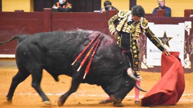 José Garrido torea al sexto de la tarde, un toro de Domingo Hernández, que fue indultado
