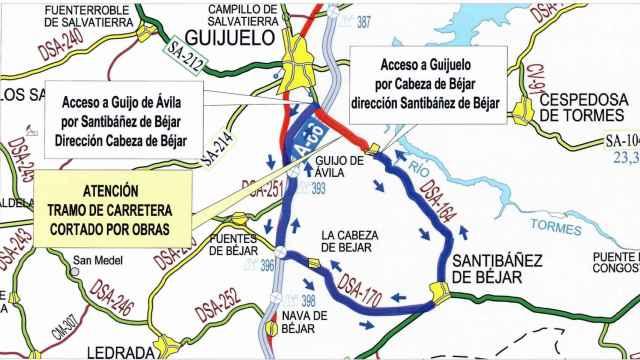 La carretera DSA-164, entre Guijuelo y Guijo de Ávila, cortada por obras hasta febrero de 2022