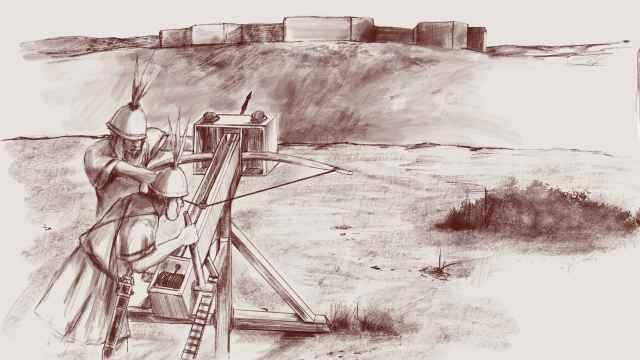 Idealización del ataque con scorpio a Iliturgi (Mengíbar, Jaén).
