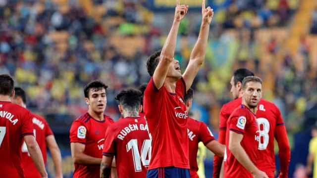 Osasuna celebra su victoria contra el Villarreal