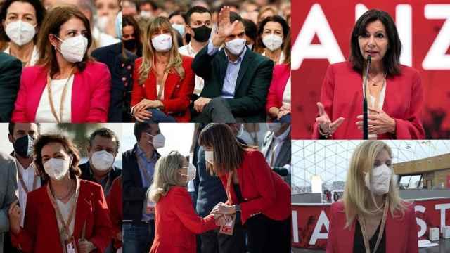 Adriana Lastra, Begoña Gómez, Anne Hidalgo, Carmen Calvo, Nadia Calviño, Idoia Mendía y Amparo Marco, con la chaqueta roja, en el Congreso del PSOE.