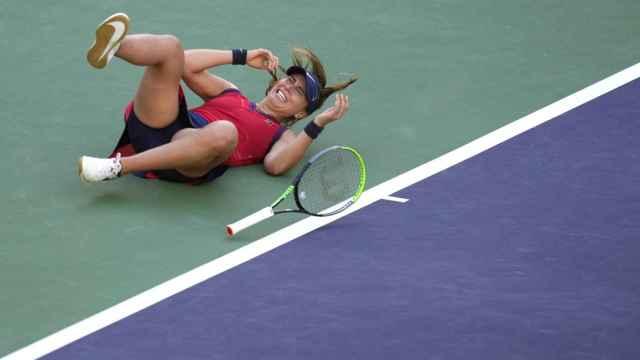 Badosa, tras ganar a Azarenka en Indian Wells.