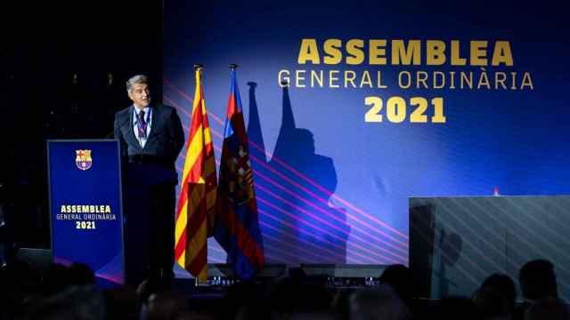 Joan Laporta, en la Asamblea de Socios Compromisarios del Barça de 2021.