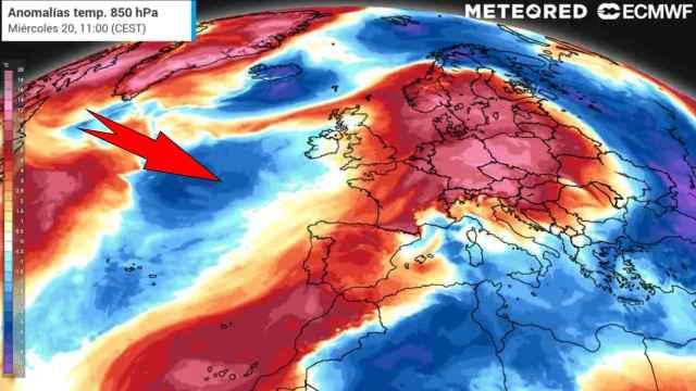 Las anomalías de temperaturas atravesando España. Meteored.