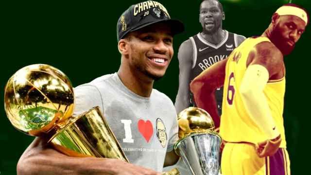 Giannis Antetokounmpo, LeBron James y Kevin Durant, en un fotomontaje