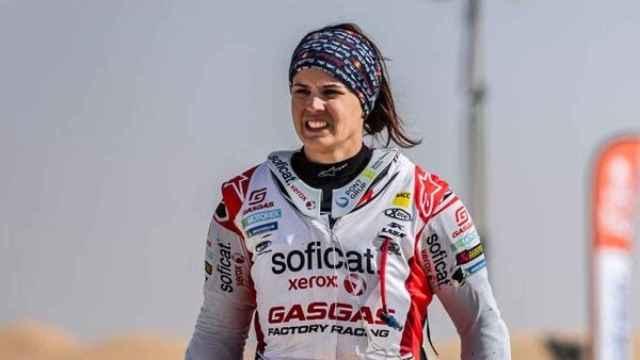 Laia Sanz durante una de sus participaciones en el Rally Dakar