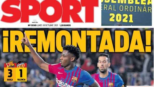 La portada del diario SPORT (18/10/2021)