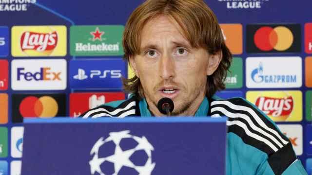 Luka Modric, en rueda de prensa de la Champions League